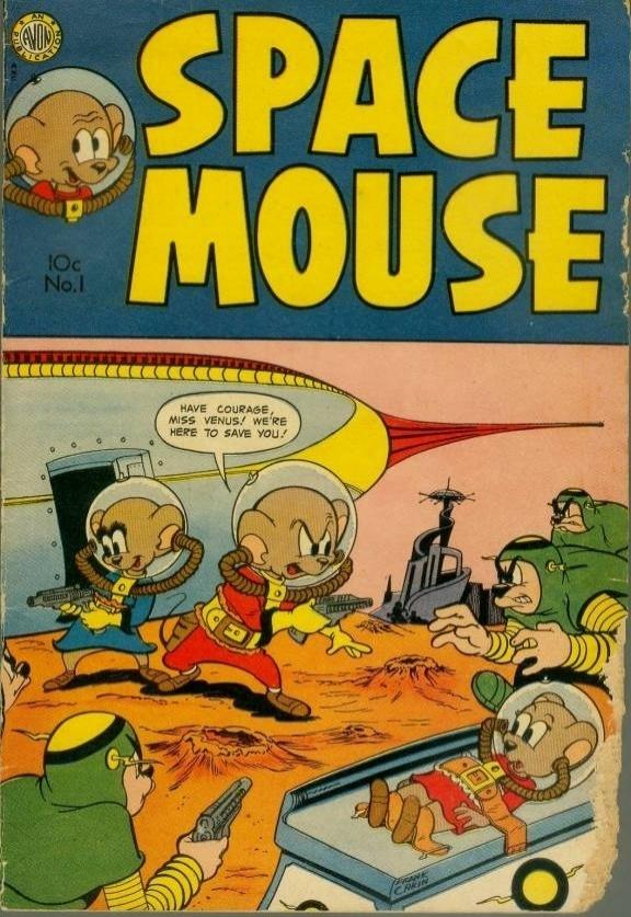 """11.abr.2014 - Em 1953, o """"Space Mouse"""" já viajava pelo Sistema Solar junto a namorada"""