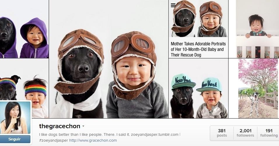 Tumblr transforma bebê e cão adotado em ?irmãos gêmeos? usando mesma roupa