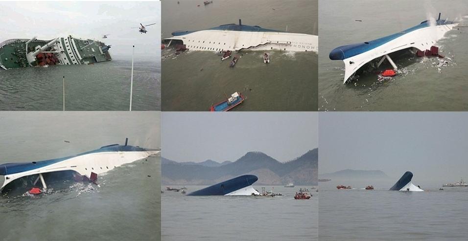 16.abr.2014 - Sequência de imagens mostra o naufrágio de um navio com 476 passageiros que afundou na Coreia do Sul. Ao menos duas pessoas morreram e 293 estão desaparecidas. A operação de resgate envolve 34 barcos e 18 helicópteros