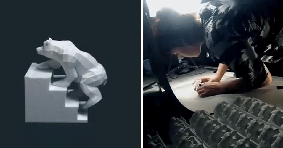 """A agência britânica DBLG criou, em impressoras 3D, diversas esculturas de um urso subindo escadas, para produzir uma animação. Depois que as estátuas foram fotografadas, a empresa produziu um vídeo chamado """"Bears on Stairs"""" (ursos nas escadas, em português). Clique em 'Mais' e veja como foi produzida a animação"""