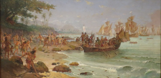 Quadro do desembarque de Pedro Álvares Cabral no Brasil