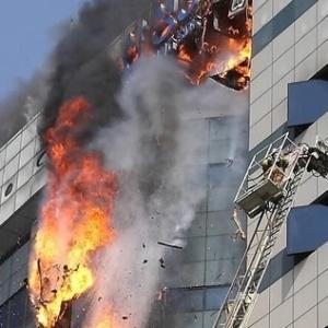 20.abr.2014 - Prédio da Samsung SDS na Coreia do Sul pega fogo; nenhum funcionário ficou ferido - Reprodução/Twitter/Yonhap
