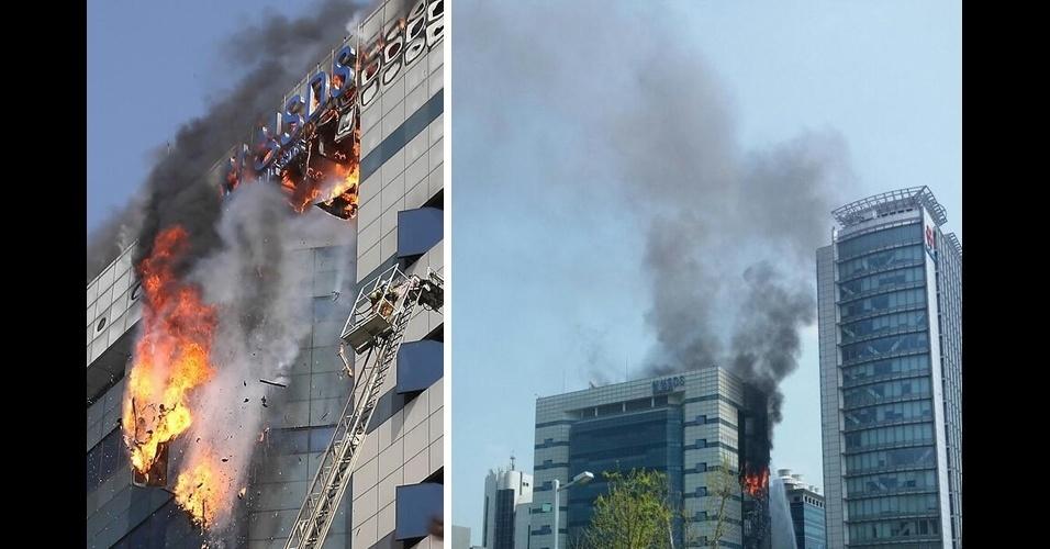 20.abr.2014 - Um centro de armazenamento de dados da Samsung em Gwacheon, na Coreia do Sul, sofreu um incêndio, deixando serviços online da empresa inacessíveis por cerca de quatro horas e meia. Nenhum funcionário ficou ferido, segundo agências de notícias locais