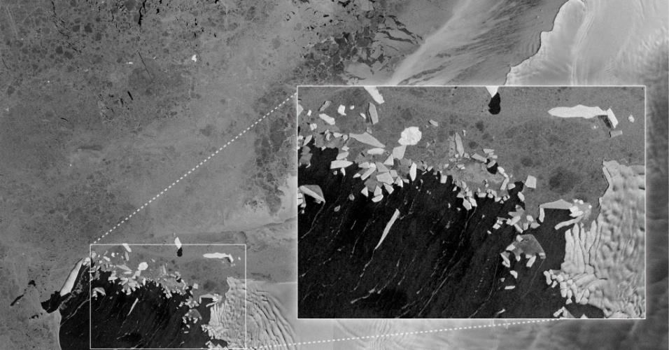 22.abr.2014- O Observatório da Terra da Nasa (Agência Espacial Norte-Americana) divulgou neste Dia da Terra (22/4) uma das primeiras imagens feitas pelo satélite Sentinel-1A. São icebergs brilhantes na Baia de Pine Island, na Antártida, que se assemelham com cacos de vidro. Os icebergs parecem estar desmoronando do glaciar Thwaites, uma pequena parte do que é visível no canto direito da imagem. Estes são os glaciares que se movem mais rapidamente no continente. O satélite da Agência Espacial Europeia foi lançado em 3 de abril de 2014 e carrega equipamentos especializados em medir o gelo