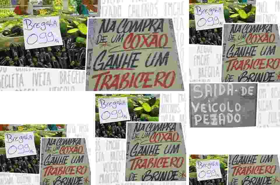 chamadas erros de português em placas - Arte/UOL