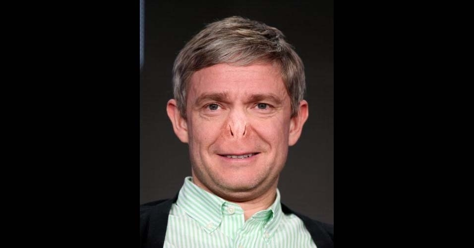 Na imagem, o ator Martin Freeman. O site Buzzfeed pegou o nariz do vilão Voldemort, da franquia 'Harry Potter', e colocou em diversas celebridades, usando o Photoshop