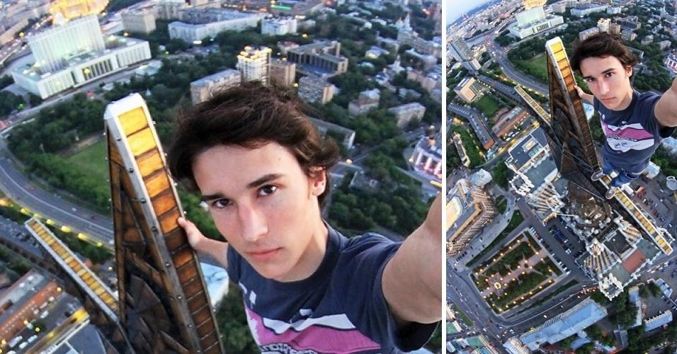 O fotógrafo russo Kirill Oreshkin tira selfies que podem ser chamados de extremamente perigosos. Desde 2008, ele diz escalar ''por diversão'' o topo de alguns dos prédios mais altos de Moscou --sem usar equipamento de segurança. ''Comecei a fazer isso porque gosto da vista'', disse ao Vocativ, site de notícias russo