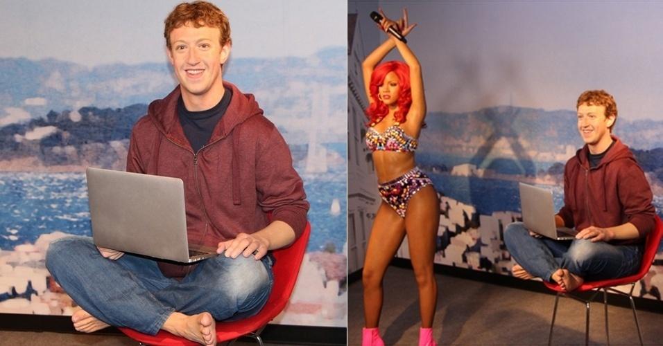 24.abr.2014 - Mark Zuckerberg, diretor-executivo do Facebook, terá uma estátua no museu de cera Madame Tussauds de San Francisco (Califórnia, EUA), previsto para ser aberto em 26 de junho. O site ''Mashable'' divulgou uma foto do boneco, que será exposto sentado e descalço, com um notebook no colo. Foram necessários quatro meses para completar o trabalho, realizado por 20 funcionários do museu. Segundo o ''Mashable'', o cabelo da estátua é real e sua colocação levou duas semanas para ser concluída. Os executivos de tecnologia Steve Jobs e Bill Gates já têm suas estátuas em diferentes filiais do museu (Xangai e Nova York, respectivamente)