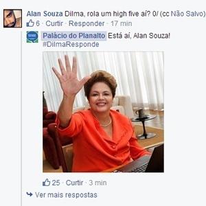 No Facebook, Dilma atendeu a pedido e cumprimentou internauta com um 'high five'