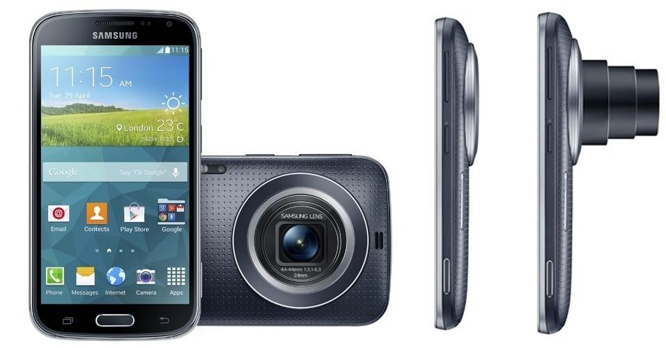 29.abr.2014 - A Samsung apresentou o celular Galaxy K Zoom, que tem como chamariz a câmera de 20,7 megapixels com zoom (retrátil) de 10x. Com tela superamoled de 4,8 polegadas, processador hexa-core (quad-core de 1,3 GHz e dual-core de 1,7 GHz), 2 GB de RAM, capacidade de 8 GB (expansíveis com cartão) e Android 4.4 (Kit Kat), o aparelho tem um recurso para selfies em sua câmera frontal de 2 megapixels. O usuário escolhe a área da tela onde seu rosto deve aparecer e, ao virar o aparelho para o clique, um apito avisa quando o rosto estiver na região certa. O lançamento global está marcado para maio; preço não foi anunciado