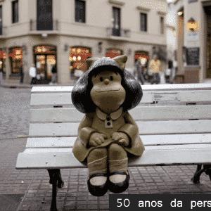 23.abr.2014 - A estátua de Mafalda, a personagem principal da história em quadrinhos do cartunista argentino Joaquín Salvador Lavado, mais conhecido como Quino, é vista em Buenos Aires, Argentina. A personagem comemora 50 anos neste ano. Mafalda é reconhecida pela sua sátira política - Arte UOL/Natacha Pisarenko/AP