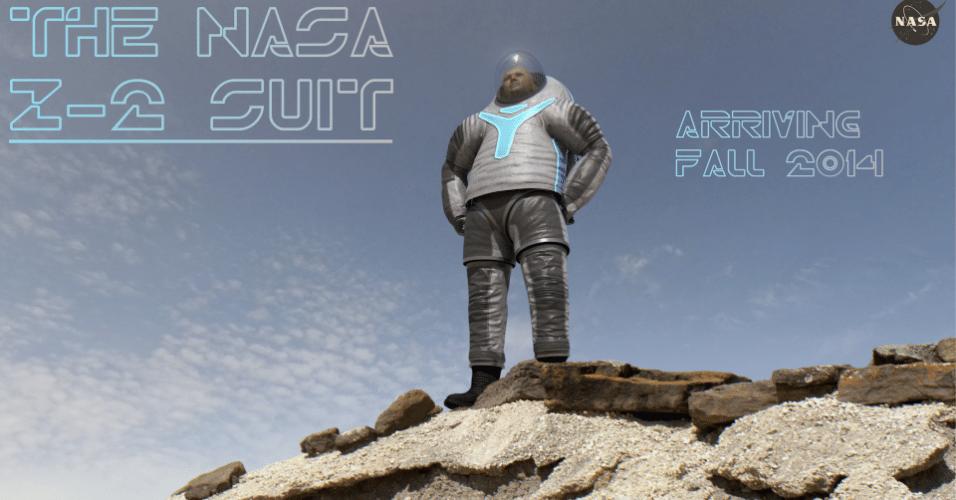 """30.abr.2014- NOVO UNIFORME PARA ASTRONAUTAS- A Nasa (Agência Espacial Norte-Americana) escolheu com a ajuda do público como será o novo traje dos astronautas. A opção """"Tecnologia"""" (imagem) ganhou com 63% dos votos e será o Z-2 Spacesuit. Este projeto será incorporada na versão final do processo, que deverá estar pronto para testes em novembro de 2014. O Z-2 é o mais novo protótipo focado em ser utilizado em Marte. Existem muitos avanços fundamentais: enquanto o Z-1 tinha uma parte superior do tronco macio, o Z-2 tem um disco superior do tronco rígido. Esta parte superior dura fornece a durabilidade a longo prazo necessária no planeta vermelho"""
