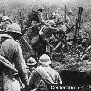 Soldados franceses na batalha de Verdun, Primeira Guerra Mundial. - Arte UOL/France Presse