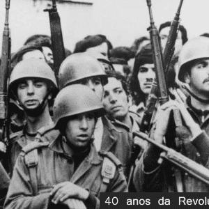 Soldados portugueses durante a Revolução dos Cravos - Arte UOL/Jornal de Notícias do Porto