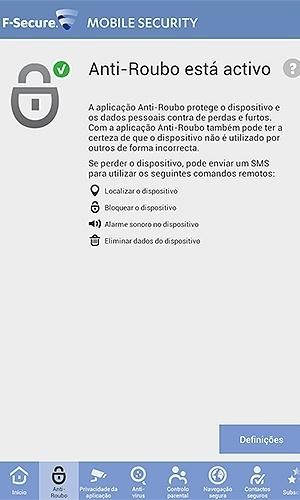 F-Secure Mobile Security (Android/gratuito). É uma solução de antivírus móvel, que também conta com a função antirroubo (com ele instalado, é possível localizar o smartphone e bloqueá-lo remotamente)