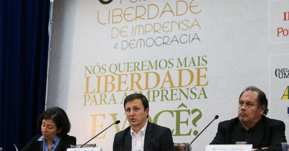6.mai.2014 - Carlos Lauría, do Comitê de Proteção aos Jornalistas, fala durante o 6º Fórum Liberdade de Imprensa, no Museu da Imprensa Nacional, em Brasília, nesta terça-feira. Na ocasião, o CPJ (Comitê para a Proteção dos Jornalistas), que é um órgão internacional com sede em Nova York (EUA), lançou um relatório sobre a liberdade de Imprensa no Brasil, apresentado à presidente Dilma Rousseff na manhã desta terça-feira (6). O encontro anual discute as ameaças à liberdade do trabalho jornalístico no país e na América Latina