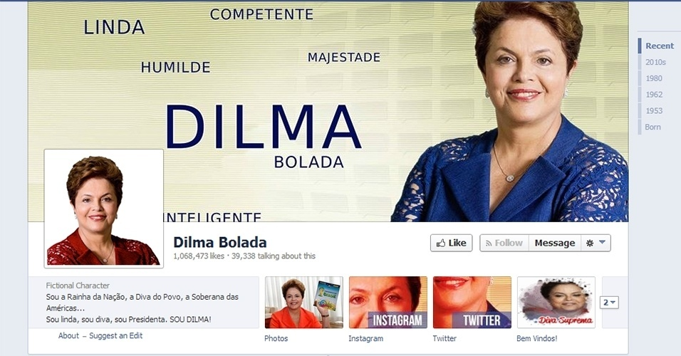 Perfil da Dilma Bolada no Facebook