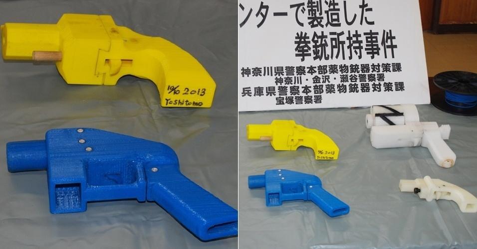 A polícia de Yokohama (Japão) prendeu em 8 de maio um homem que tinha em sua casa cinco armas produzidas com impressora 3D - segundo a agência de notícias France Press, trata-se da primeira detenção deste tipo no país. Dois dos revólveres eram compatíveis com balas capazes de matar uma pessoa. A polícia chegou até Yoshitomo Imura, 27, depois de ele publicar na internet um vídeo com o armamento produzido com uma impressora de 60 mil ienes (cerca de R$ 1.300). O suspeito trabalha em uma universidade e disse não saber que esse tipo de impressão era ilegal