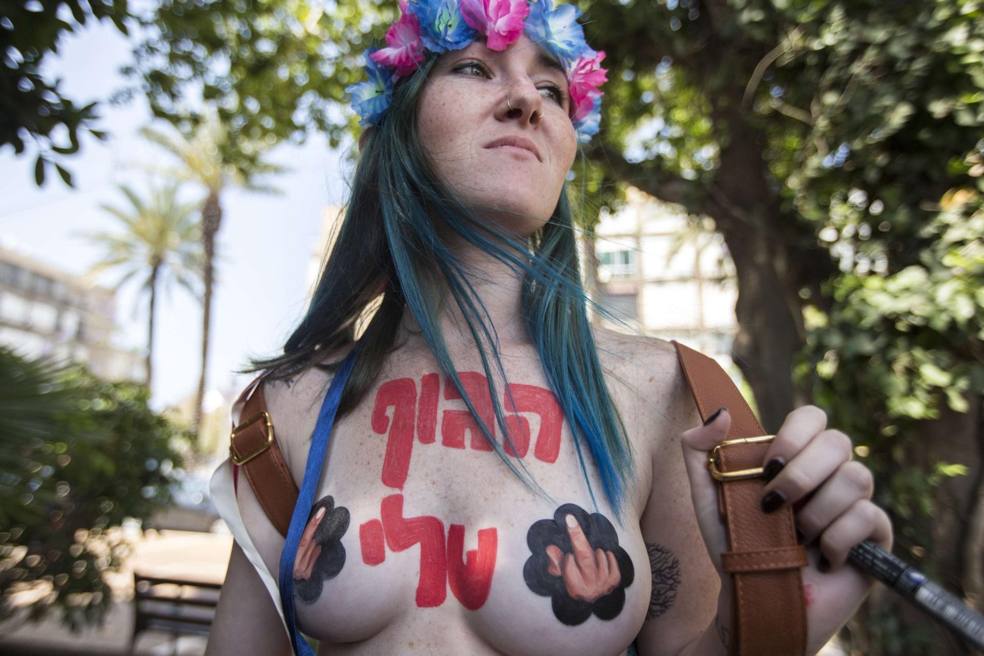 9.mai.2014 - Ativistas do Femen fazem protesto por mais liberdade de expressão, em Tel Aviv, Israel