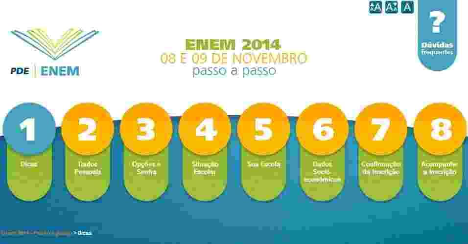 As inscrições para o Enem (Exame Nacional do Ensino Médio) 2014 começaram nesta segunda-feira (12). Para ajudar os candidatos, o MEC (Ministério da Educação) elaborou um passo a passo sobre como realizar o cadastro; confira nas próximas páginas - Reprodução/www.enem.inep.gov.br