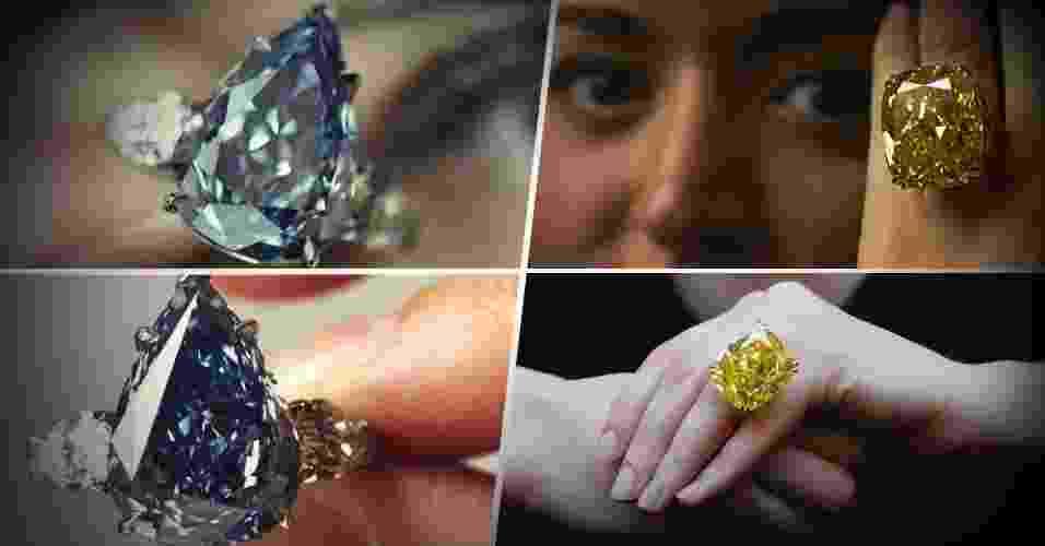 Diamantes azul e amarelo vão a leilão, e podem atingir US$ 25 mi cada - Arte/UOL