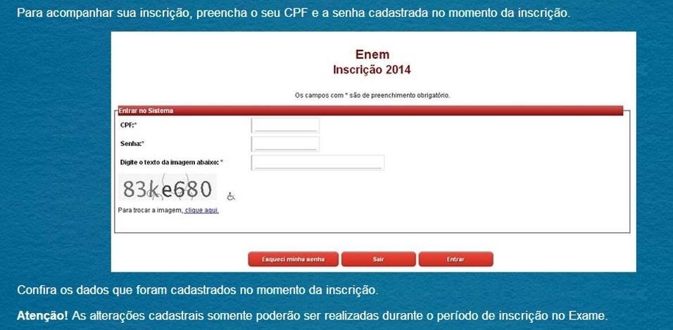 Passo 8 - Confirmação de Inscrição: Para acompanhar a inscrição, é preciso informar o CPF e a senha cadastrada