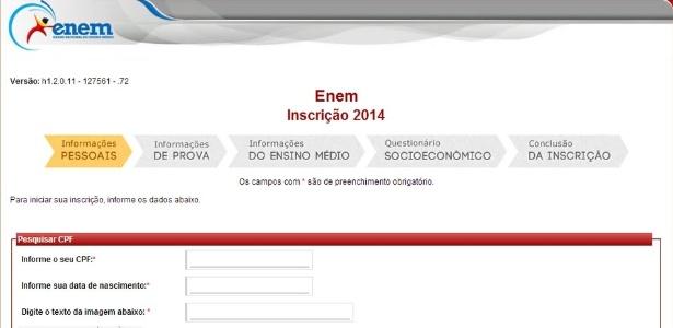 Tela inicial para inscrição no Enem 2014 - Reprodução/www.enem.inep.gov.br