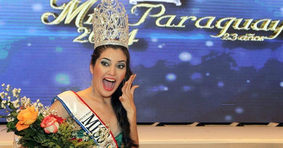 15.mai.2014 - Isabel Soloaga Irala, da cidade de Itapúa (a 300 km de Assunção), foi eleita rainha da beleza do Paraguai em evento celebrado na capital. O concurso, que completa 23 anos em 2014, reuniu 18 candidatas. A vencedora vai representar o país no Miss Intercontinental, a ser realizado na Europa
