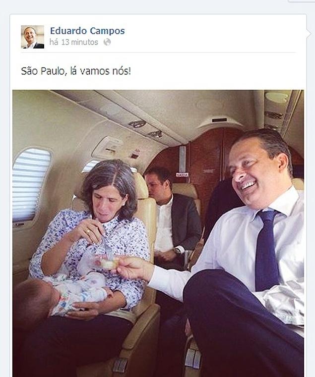 16.mai.2014 - Minutos após publicar numa rede social uma foto dentro de um jatinho na manhã de quinta-feira (15), o ex-governador e presidenciável Eduardo Campos (PSB-PE) passou a ser bombardeado por alguns de seus seguidores por causa da greve dos policiais militares em Pernambuco