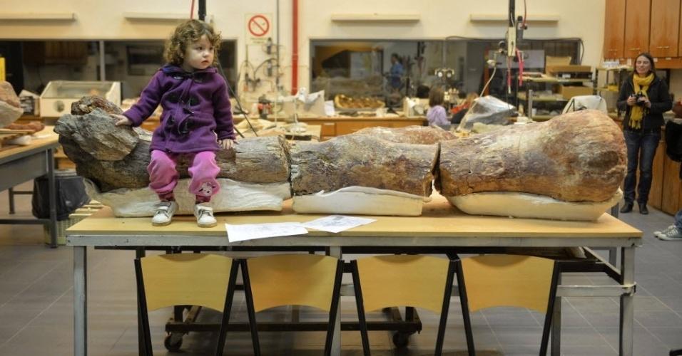 18.mai.2014 - Garota senta-se sobre fóssil de fêmur de um dinossauro exibido no museu argentino Egidio Feruglio, na cidade de Trelew, na região da Patagônia. Segundo os paleontologistas Jose Luis Carballido e Ruben Cuneo, o material é de um dinossauro que pode ter tido cerca de 39 metros de comprimento e 20 de altura, pesando algo como 85 toneladas