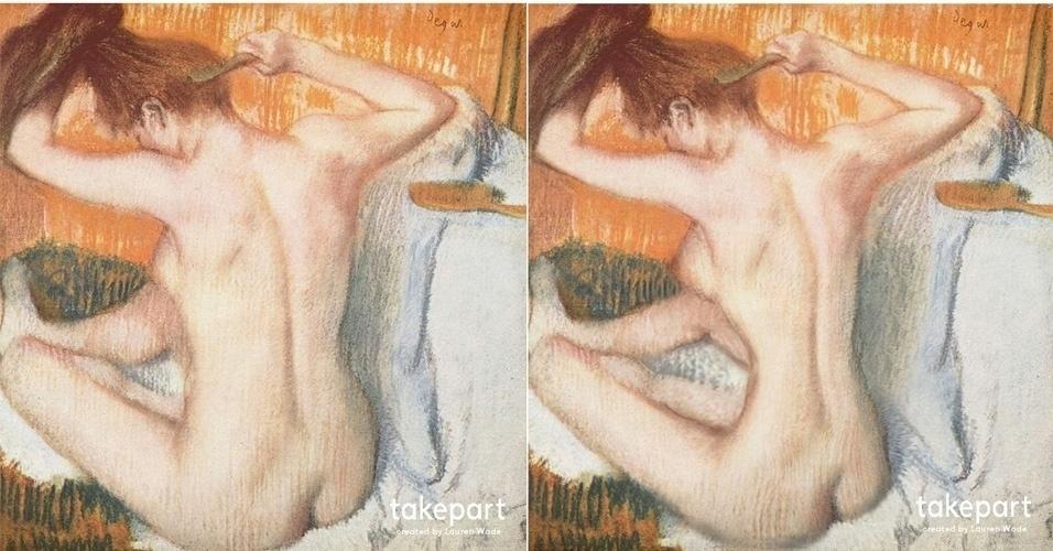 O site TakePart.com mostrou como ficariam algumas pinturas famosas, caso seguissem a ''ditadura do Photoshop'' – padrão de beleza que estabelece mulheres magras e sem curvas. À esquerda, a versão original de '''La Toilette'' (do pintor francês Edgar Degas). À direita, a pintura com retoques (foi usada a ferramenta Liquify do Photoshop). ''Pode haver algum sacrilégio nisso [na transformação], mas podemos dizer o mesmo de nossa ideia contemporânea de beleza'', diz o site