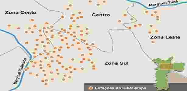 Mapa das estações do BikeSampa em maio de 2014 - Arte/UOL - Arte/UOL