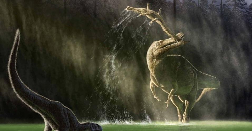 23.mai.2014 - Este jovem e, supostamente, emplumado Abelisauridae, chamado Kryptops ? espécie de dinossauro da família dos ceratossauros terópodes -, é incomodado por um Suchomimus, que se alimenta de um Sarcosuchus, enquanto bebe água no seu habitat, no período Cretáceo. A cena faz parte do livro The Paleoart of Julius Csotonyi, do premiado ilustrador Julius Csotony, lançado este mês. Csotony tem PhD em microbiologia e possui trabalhos em museus e artigos científicos