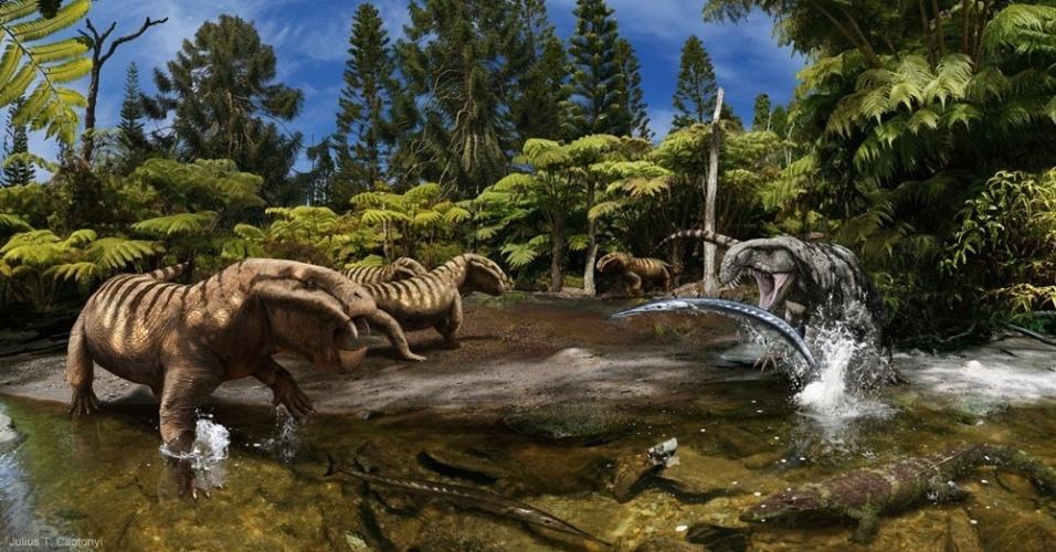 23.m,ai.2014 - Um grupo de Dicynodon Synapsida, da classe dos cordados, encara um antigo Archosaurus enquanto ele tenta abocanhar um Saurichthys. Percebendo o perigo, o Chroniosuchus foge pela água rasa. A cena faz parte do livro The Paleoart of Julius Csotonyi, do premiado ilustrador Julius Csotony, lançado este mês. Csotony tem PhD em microbiologia e possui trabalhos em museus e artigos