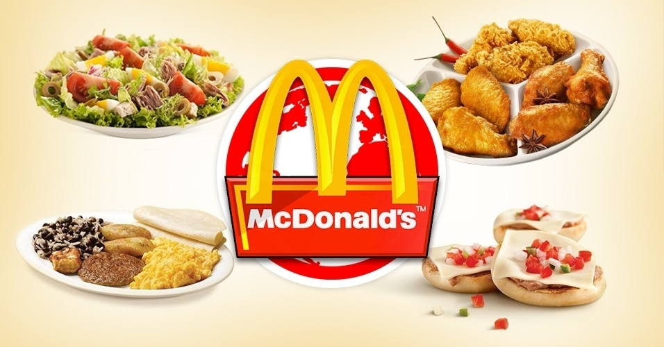 Depois da descoberta do feijão com arroz no cardápio brasileiro do McDonald's, resolvemos pesquisar outros pratos servidos pela rede de lanchonetes mundo afora. Há opções de vários tipos, de frango frito, camarão empanado, a sopa de legumes e, acreditem, novamente o feijão com arroz, mas oferecido no café da manhã. Veja outros exemplos acima de comidas diferentes vendidas no McDonald's