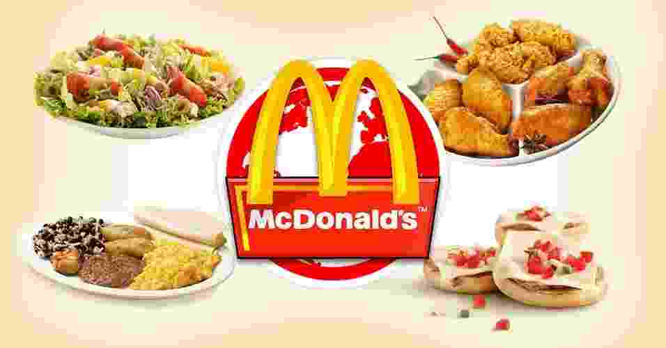 Depois da descoberta do feijão com arroz no cardápio brasileiro do McDonald's, resolvemos pesquisar outros pratos servidos pela rede de lanchonetes mundo afora. Há opções de vários tipos, de frango frito, camarão empanado, a sopa de legumes e, acreditem, novamente o feijão com arroz, mas oferecido no café da manhã. Veja outros exemplos acima de comidas diferentes vendidas no McDonald's - Arte UOL