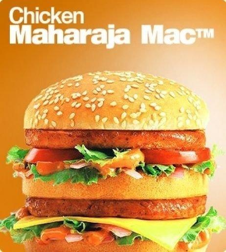 O Maharaja Mac é a versão indiana do Big Mac, com a diferença de ser um hambúrguer de frango. O recheio e o pão com gergelim permanecem os mesmos