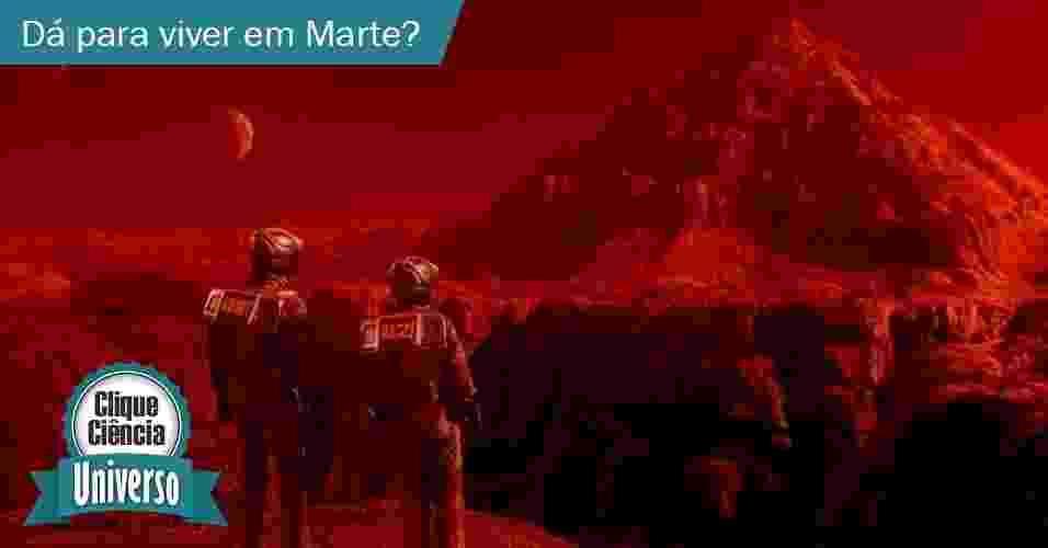 """26.mai.2014 - Clique Ciência: Dá para um humano viver em Marte? - Arte UOL sobre cena do filme """"O Vingador do Futuro"""""""
