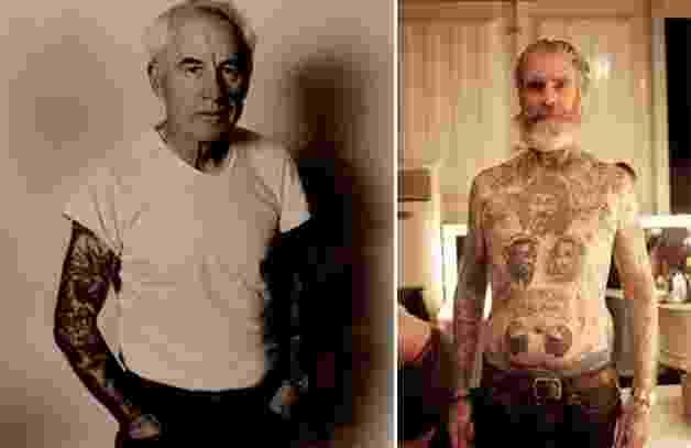 29.mai.2014 - Com a idade, a pele sofre alterações, bem como a tinta usada na tatuagem. O tempo e a gravidade fazem com que a pele muitas vezes fique enrugada e o desenho acaba perdendo sua cor. Veja fotos que estavam espalhadas pela internet de vovôs e vovós tatuados que, apesar dos efeitos do tempo, ainda mostram, orgulhosos, suas tattoos. Idosos tatuados são muito mais divertidos. - Reprodução Internet