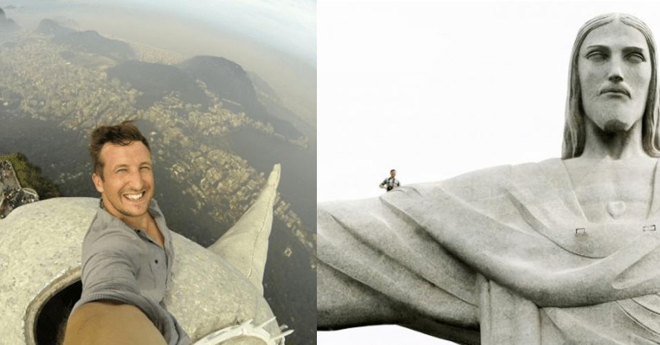 2.jun.2014 -  O fotógrafo Lee Thompson aproveitou sua passagem pelo Rio de Janeiro e fez essa selfie em cima da estátua do Cristo Redentor. Ele disse que demorou cerca de 20 minutos para chegar até o topo do monumento