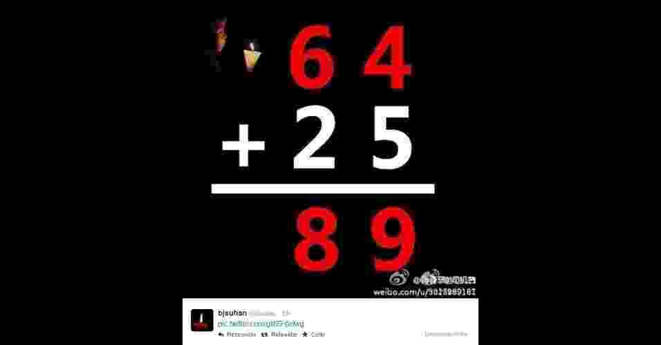 3.jun.2014 - Para driblar a censura chinesa a fotos e termos ligados ao massacre da praça da Paz Celestial, que completa 25 anos em 2014, internautas inserem a data da tragédia -- 4 de junho de 1989 (4/6/1989) -- em objetos, cartas e até comida - Reprodução/Twitter/Hu Jia