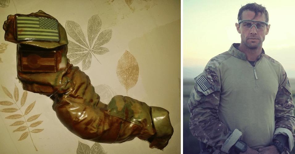 Liam Nevins (dir.) é um soldado americano que morreu em combate no Afeganistão em agosto de 2013. Sua mãe, Victoria Nevins, criou diversas réplicas em impressoras 3D (esq.) de uma manga do uniforme de Liam, que ela havia guardado. O produto, que é em tamanho real, não está à venda, e será distribuído para amigos e familiares do combatente