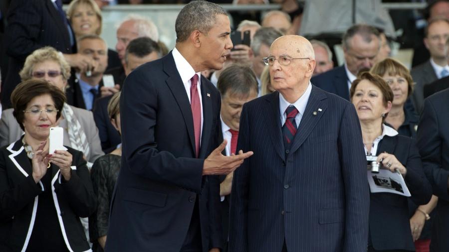 Barack Obama (à esq.), dos EUA, com o italiano Giorgio Napolitano, ambos recebem benefícios por serem ex-presidentes - AFP