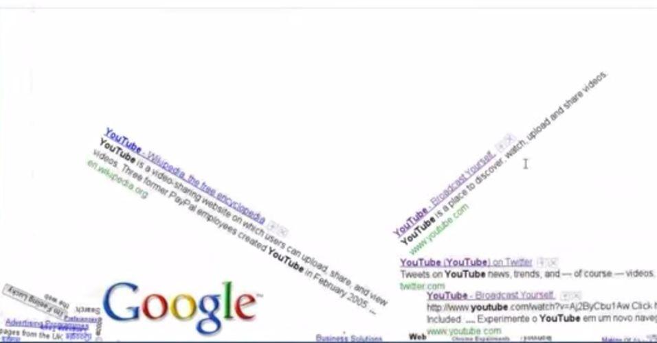 Ao digitar a frase 'Google gravity' e apertar no botão 'Estou com sorte', os links e resultados da busca caem como se não houvesse gravidade na internet. O recurso, no entanto, não funciona mais porque o buscador agora realiza a pesquisa automaticamente quando o usuário começa a digitar
