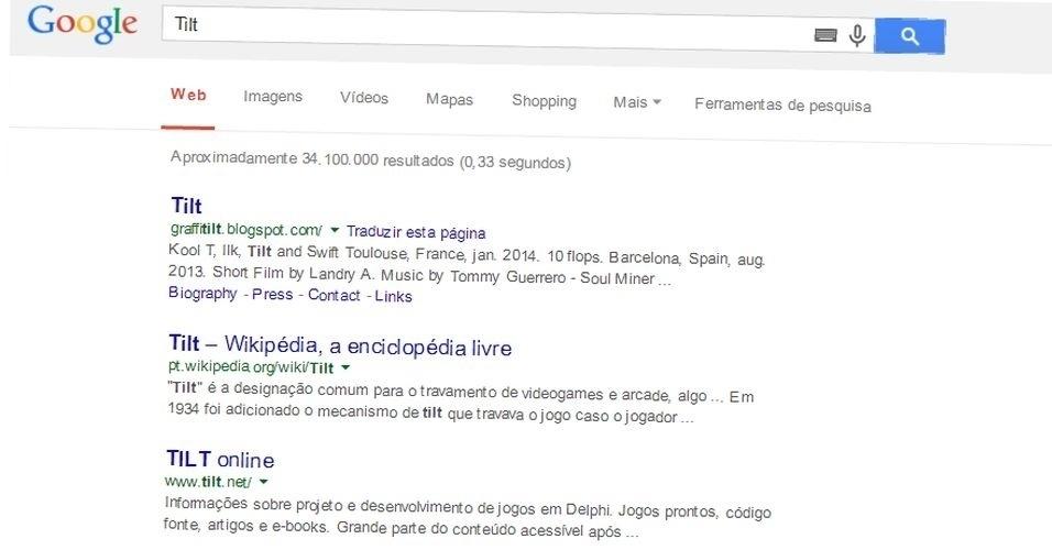 Ao digitar 'Tilt' no buscador do Google, a página apresenta um pequeno 'erro' em sua exibição