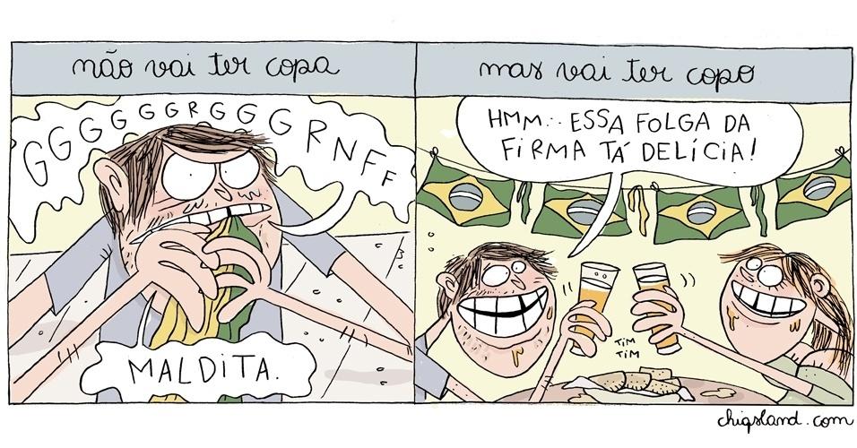 5.jun.2014 - A chargista Chiquinha retrata a revolta do brasileiro com a Copa ao mesmo tempo em que ele comemora o feriado nos dias de jogos do Brasil