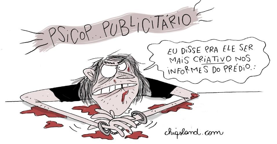 5.jun.2014 - A chargista Chiquinha retrata o caso do publicitário que confessou ter matado e esquartejado o zelador de seu prédio em São Paulo