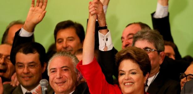 Temer e Dilma durante campanha de 2014