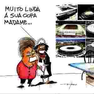 11.jun.2014 - O chargista Fred brinca com a imagem da presidente Dilma Rousseff que se mostra orgulhosa pela realização da Copa do Mundo 2014 - Fred/ UOL