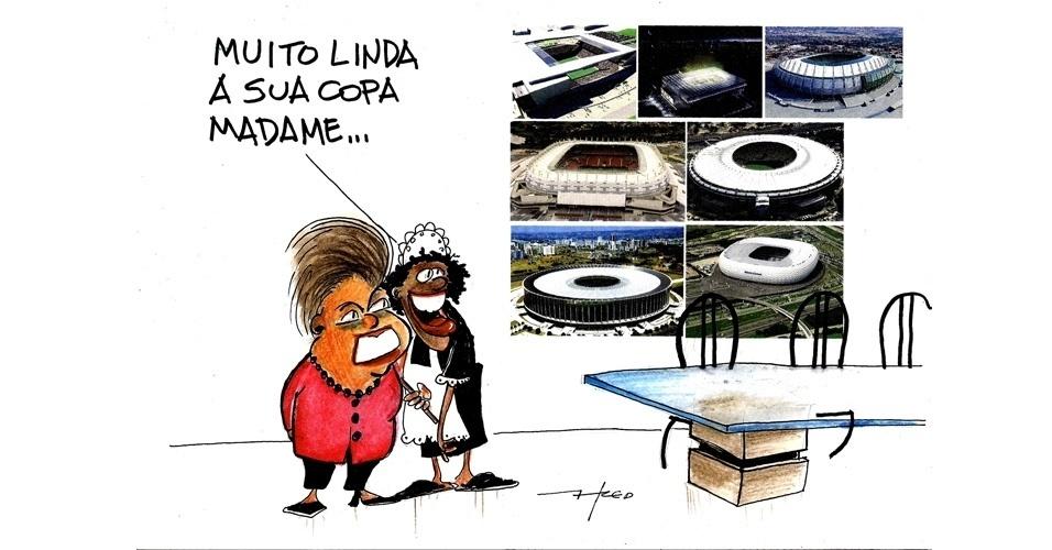 11.jun.2014 - O chargista Fred brinca com a imagem da presidente Dilma Rousseff que se mostra orgulhosa pela realização da Copa do Mundo 2014